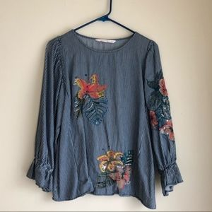 Zara Chambray Denim Floral Embroidered Top XS